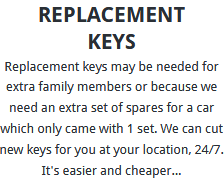 Replacement Keys Sheffield
